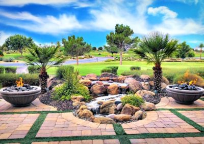 Golf Course Pondless Waterfall and Fire Features